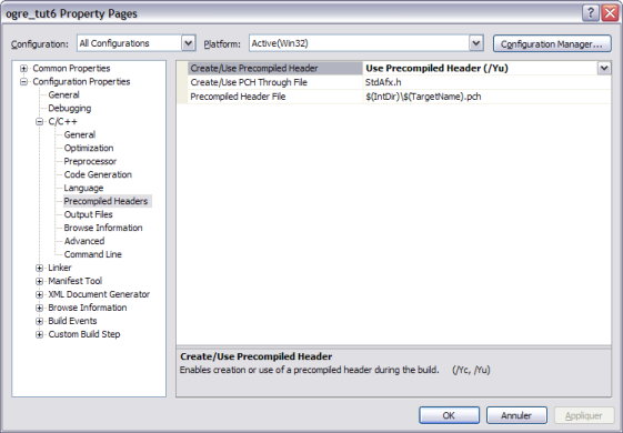 Configuration dialog to use precompiled headers in VC++2008